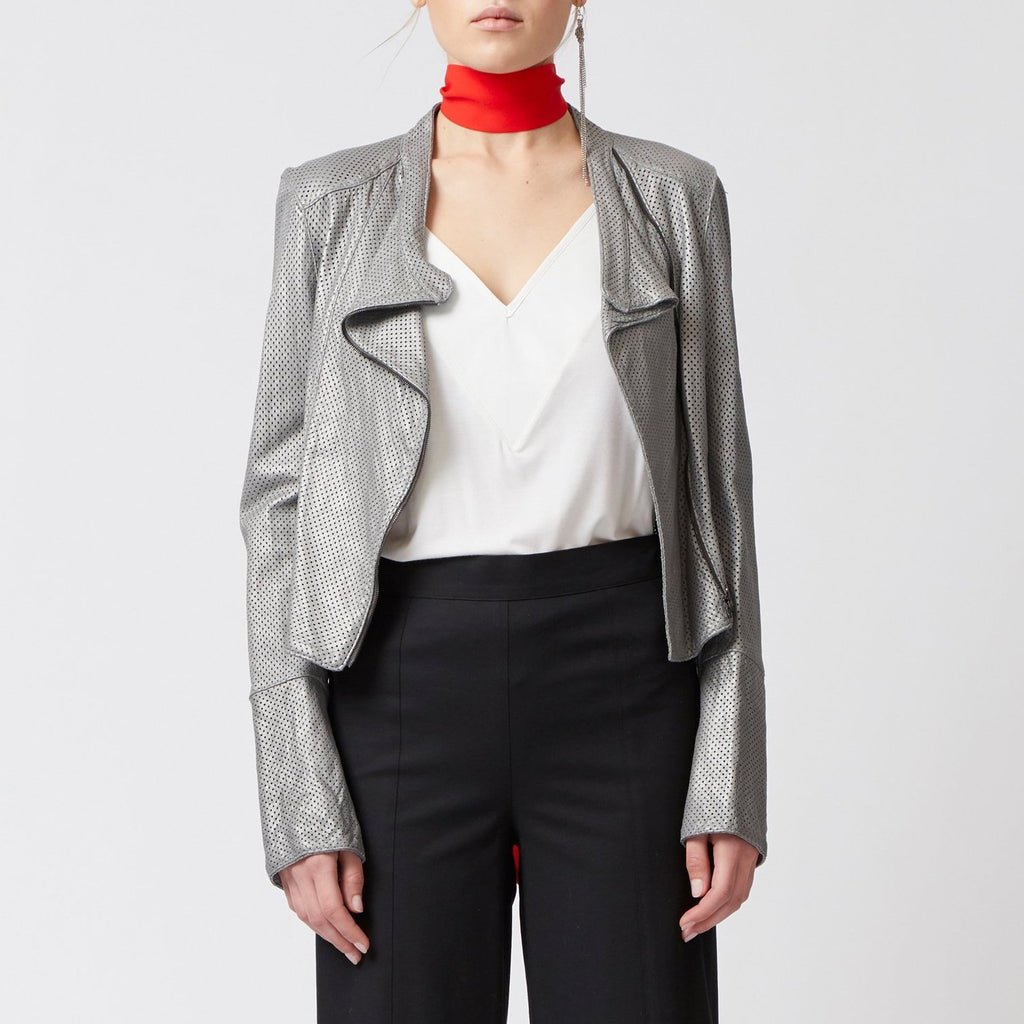 Oasis Leather Moto Jacket-Jacket-Elaine Kim-White Perforated-Elaine Kim Studio
