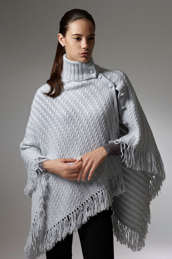 Sonja Cashmere Poncho with Fringes