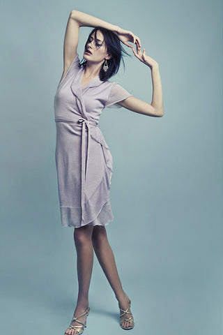 Aline summer wrap dress with ruffle in silk-cashmere