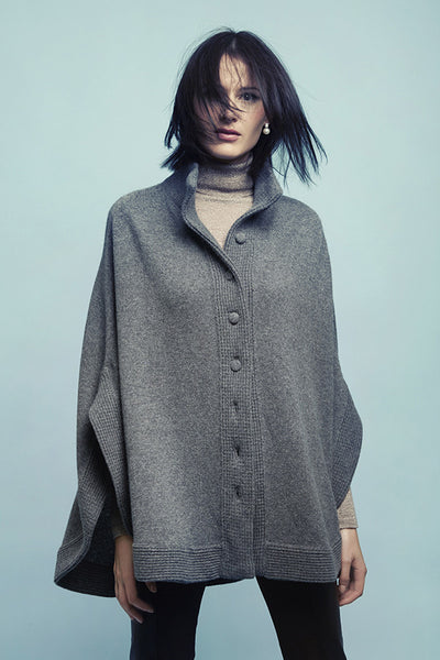 Cashmere Catherine Poncho with Button List