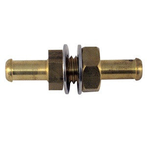 "Brass bulkhead fitting: 3/8"" to 3/8"" Hose ID"