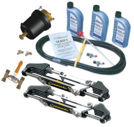 HyDrive Commander Commercial Use Fluid-Link Bullhorn Steering Kit for Twin Outboards