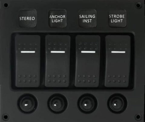 4P Curved Water-resistant LED Switch Panel with Circuit Breakers  - Boat & RIB