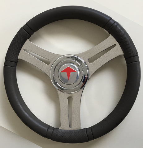 Boat Steering Wheel SIRIO-P Stainless 3 Spoke C/W Black PU rim