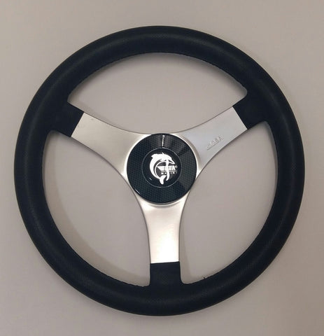 New Equi Techno Grey Leather Boat & RIB Steering Wheel. Ideal Replacement Wheel