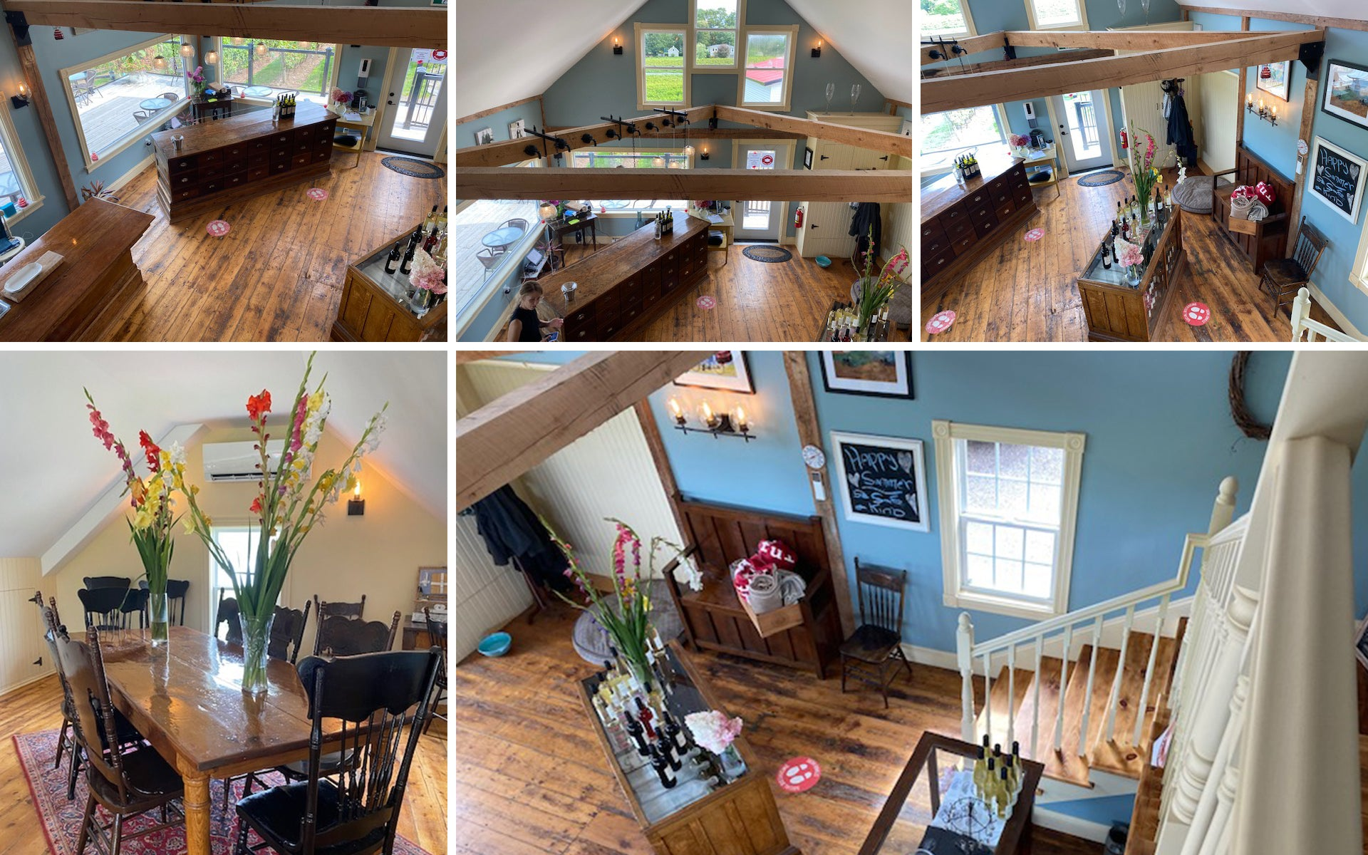 Different shots of Tasting room at 1365 Church Street Vineyard & Winery