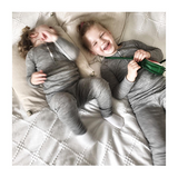 laughs and cosy afternoons in organic merino rib top and leggings from roots & wings organic merino