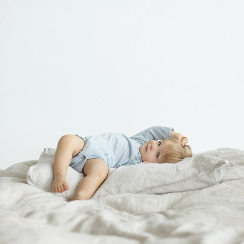 toddler on merino wool blanket