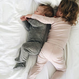 best sleep ever in grey jumpsuit and dusty rose rib top and leggings all from roots & wings organic merino