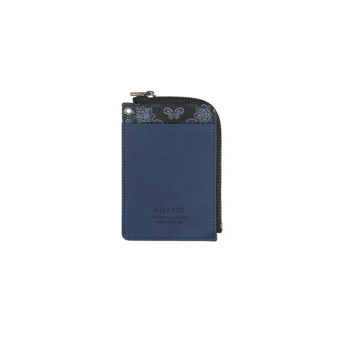 Zipper slit wallet (Paisley navy)