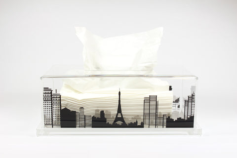 Tissue Box-Paris (Clear Base)
