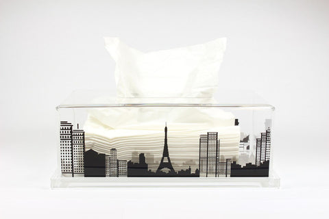 Tissue Box Paris (Clear Base)