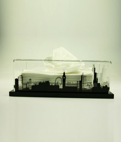 Tissue Box London (Black Base)