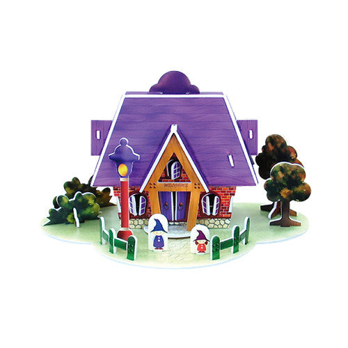 3D Puzzle - House Card (Purple)