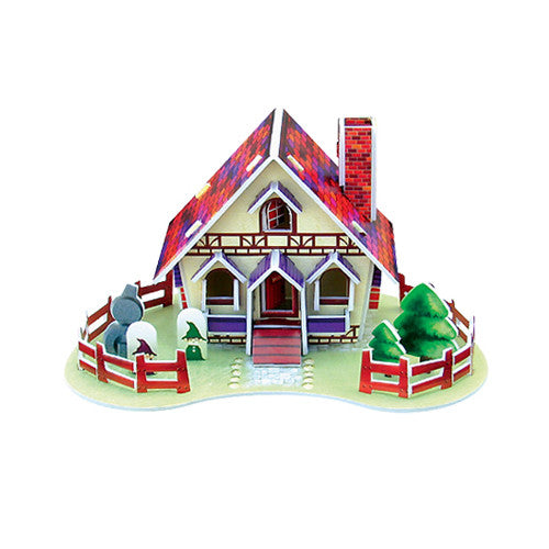 3D Puzzle - House Card (Red)
