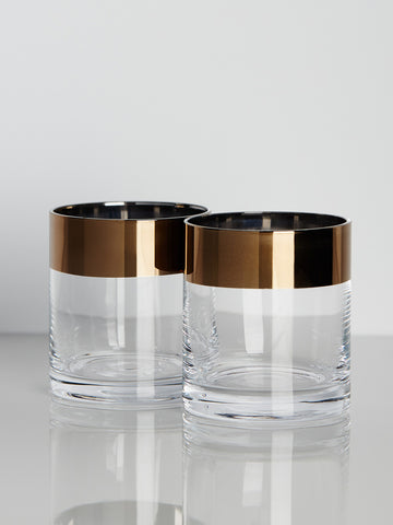 Bronze-Rimmed Crystal Tumblers