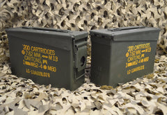 (2 Pack) M19A1 7.62 / 308 Cal AMMO CAN - GREAT CONDITION ** FREE SHIPPING **