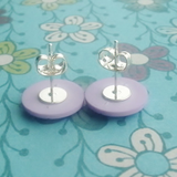 Button earrings, lavender, button accessory