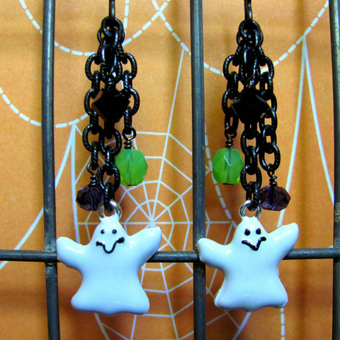 Ghost Earrings - Enamel Ghost Charm Swarovski Crystals Chain