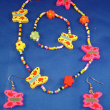 Girls Set of Necklace, Bracelet & Earrings, Bright Colorful Butterflies