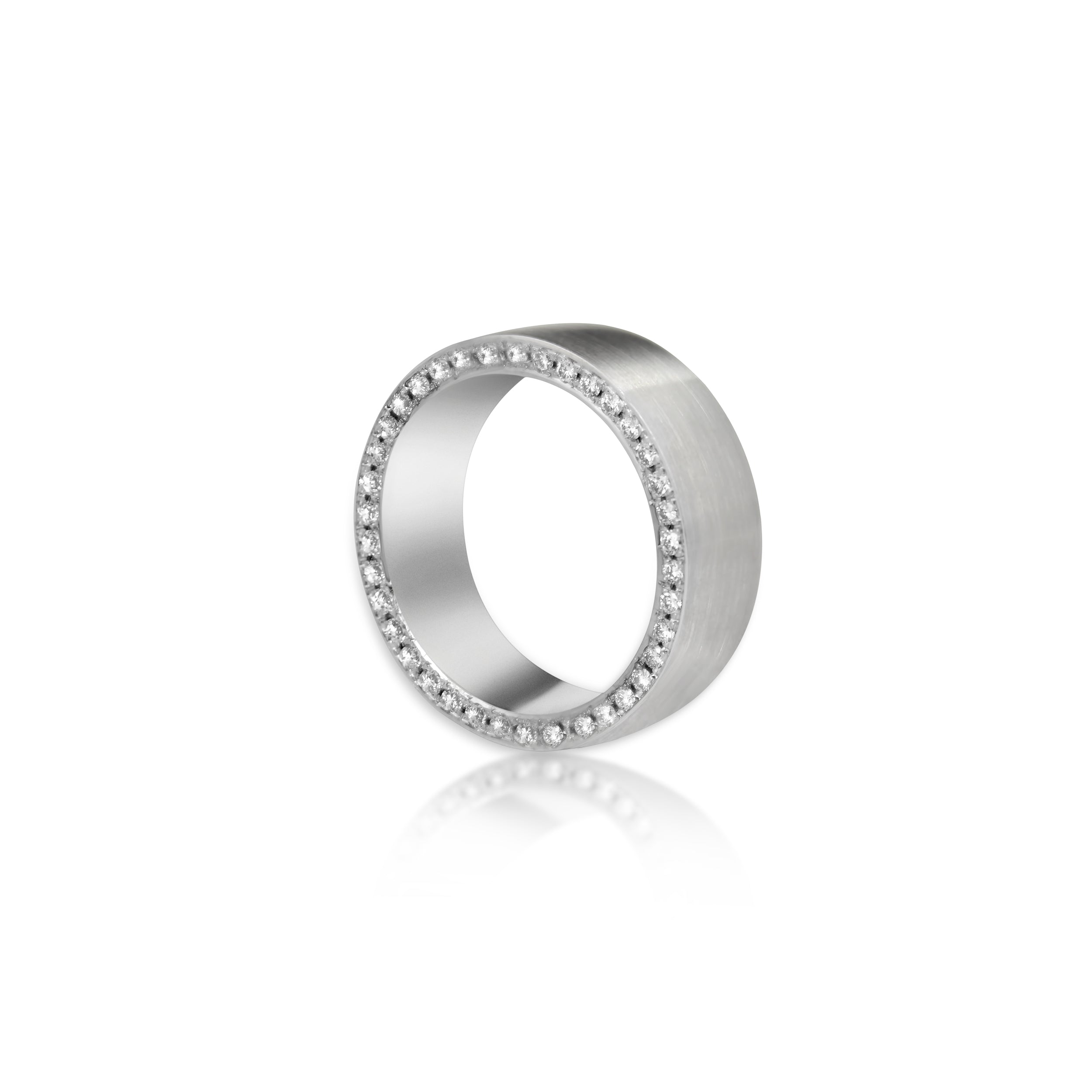 14kt White Gold Matte Finish, Diamond Bead
