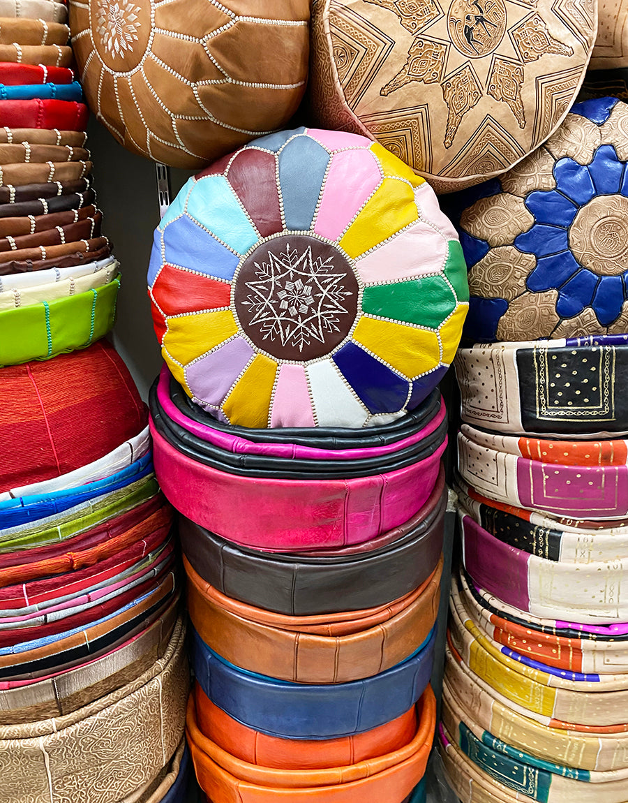 Leather pouffes in the souk