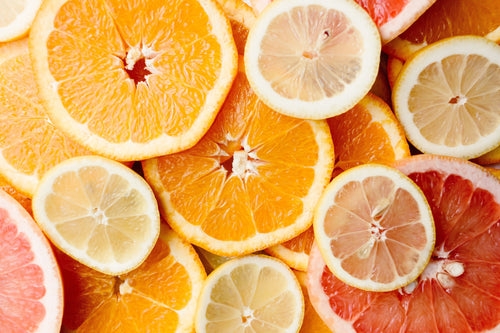 Slices of citrus fruits.Representing the different vitamin supplements