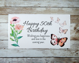 50th Birthday Gift - Personalized 50th Birthday Gift Basket with Butterfly Theme