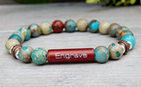 jasper gemstone bracelet with engraved bead