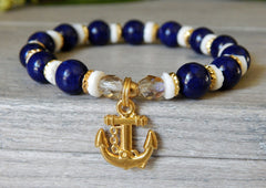 blue and white beaded anchor bracelet
