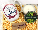 wine lover gift box with wine scented candle