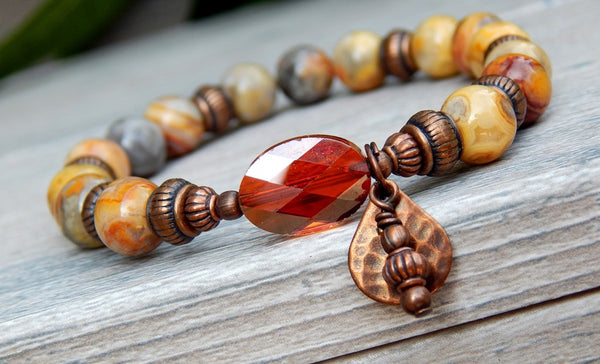 agate beaded gemstone bracelet