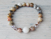 soft colors beaded gemstone bracelet