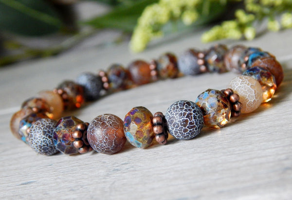 beaded agate bracelet earthy brown