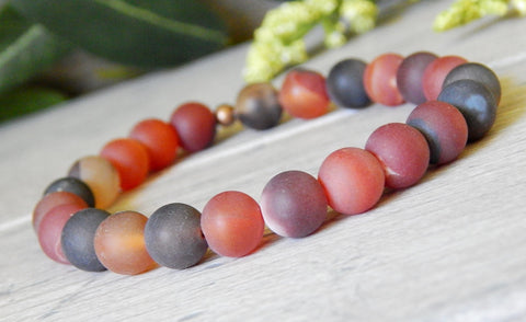 frosted matted agate beaded gemstone bracelet