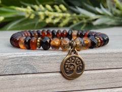 agate gemstone bracelet with tree of life charm