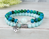 teal green blue bracelet amazonite jewelry lotus flower charm