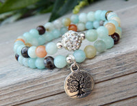 tree of life bracelet set with amazonite gemstones