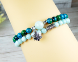 beaded amazonite gemstone stacked bracelets