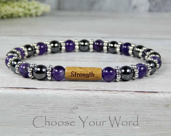 word bead bracelets yoga jewelry amethyst