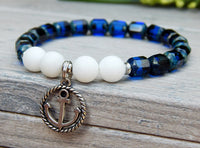 anchor bracelet blue and white nautical jewelry