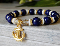 beaded nautical anchor charm bracelet