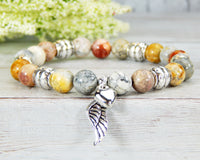 angel wing bracelet gemstone beaded jewelry