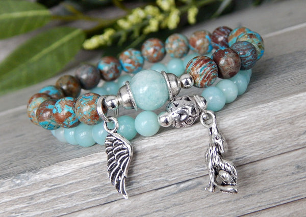 Wolf and Angel Wing Charm Bracelet with Amazonite