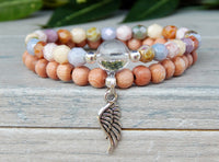 angel wing beaded rosewood bracelet
