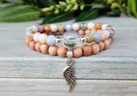 beaded stacked angel bracelets