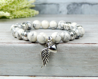 remembrance bracelet with an angel wing heart charm