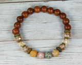 Boho Chic Gemstone Bracelet for Women - Agate Jewelry - Wood Bracelet