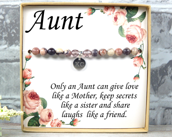 Aunt Gift - Only An Aunt Can Give Hugs Like a Mother - Birthday Gift for Aunt - Aunt Bracelet