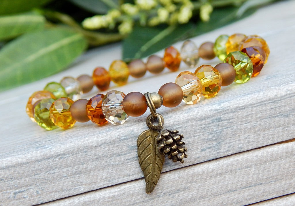autumn bracelet with leaf charm
